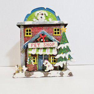 Christmas Village Pet Shop Candle Holder
